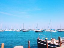 Boote in einem Hafen Stockfotografie