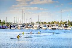 Boote in Glenelg, Süd-Australien Stockfotografie