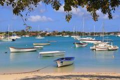 Boote am großartigen-baie Strand in Mauritius Lizenzfreies Stockfoto