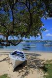 Boote am großartigen-baie Strand in Mauritius Stockfotos