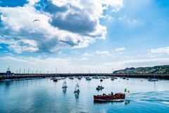 Boote in Howth-Hafen Stockfoto