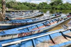 Boote im Hafen auf Madidi-Fluss Lizenzfreie Stockfotos