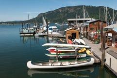 Boote im Hafen auf Vancouver-Insel Stockbilder