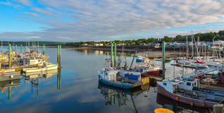 Boote im Hafen bei Ebbe in Digby, Nova Scotia Stockbild