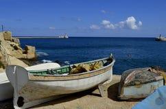 Boote im Hafen von Malta, La Valletta stockbild