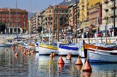 Boote im Kanal von Nizza in Frankreich Stockfotografie