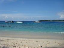 Boote im Meer bei Gili Trawangan Stockfoto