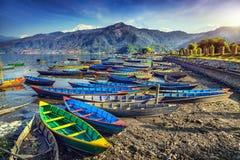 Boote im Pokhara See stockbilder