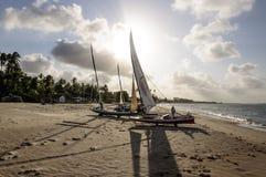 Boote Pititinga (RN Brasilien) Fisher auf dem Strand Stockfoto