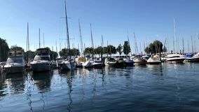 Boote am See Constance Harbor stock video footage