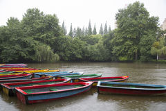 Boote, See und Anlage am Regnen des Tages Lizenzfreies Stockfoto