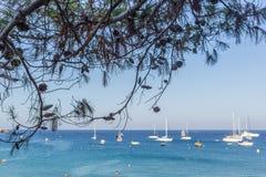 Boote und Yachten verankert nah an dem Seeufer in der blauen Lagune Lizenzfreies Stockfoto