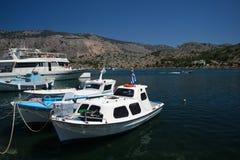 Boote von Symi Stockfotografie