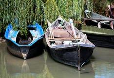 Boote in Vylkove (Ð'иГ кÐ-¾ Ð ² е; Ð'иГ кÐ-¾ Ð ² Ð ¾; Vâlcov) Lizenzfreie Stockfotografie