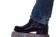 Bootee. The picture shows a black bootee on a brick Royalty Free Stock Photography