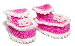 Bootees del bambino del knit dei bambini Fotografie Stock Libere da Diritti