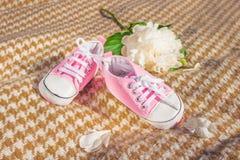 Booteeson de Babys un plaid beige Chaussures du ` s d'enfants Image stock
