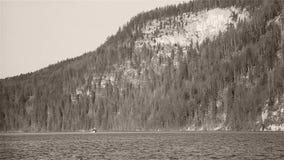 Bootfahrt unter Holz und Bergen stock footage