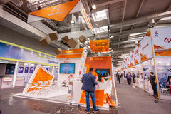 Booth of Alibaba Group at CeBIT information technology trade show. HANNOVER, GERMANY - MARCH 14, 2016: Booth of Alibaba Group at CeBIT information technology royalty free stock photo