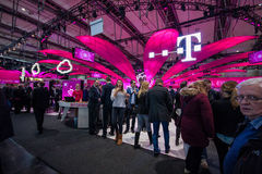 Booth of Deutsche Telekom company at CeBIT Royalty Free Stock Images