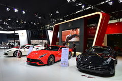 The Booth of Ferrari supercars Royalty Free Stock Photo