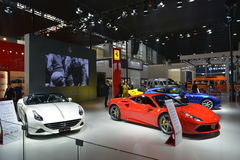 The Booth of Ferrari supercars Royalty Free Stock Images