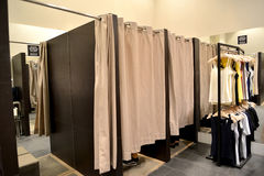 Booth fitting rooms in women's clothing shop, Poland.  Stock Images