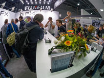 Booth of Fujifilm company at PhotoForum 2017 trade show Stock Photo