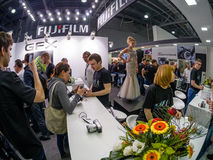 Booth of Fujifilm company at PhotoForum 2017 trade show. MOSCOW, RUSSIA - APRIL 21, 2017: Booth of Fujifilm company at PhotoForum 2017 trade show and exhibition stock image
