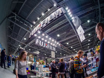 Booth of Fujifilm company at PhotoForum 2017 trade show Royalty Free Stock Photography