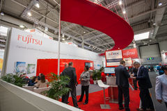 Booth of Fujitsu company at CeBIT information technology trade show Royalty Free Stock Photography