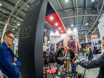 Booth of Gitzo and Manfrotto companies at PhotoForum 2017 Stock Photos