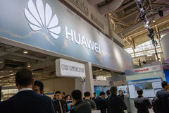 Booth of Huawei company at CeBIT information technology trade show Stock Photo