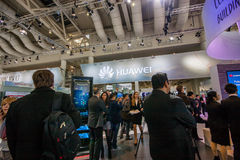 Booth of Huawei company at CeBIT information technology trade show Stock Photos