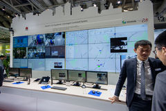 Booth of Huawei company at CeBIT information technology trade show Stock Image