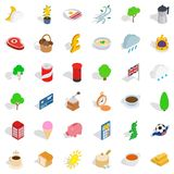 Booth icons set, isometric style Royalty Free Stock Photography