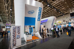 Booth of Intel Corporation at CeBIT information technology trade show Royalty Free Stock Image