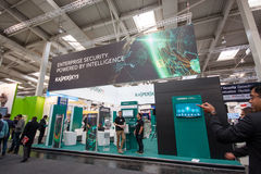 Booth of Kaspersky Lab company at CeBIT Royalty Free Stock Photos