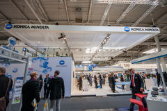 Booth of Konica Minolta company at CeBIT Stock Photos