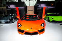 The Booth of LAMBORGHINI supercars Royalty Free Stock Photography