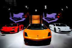 The Booth of LAMBORGHINI supercars Royalty Free Stock Images