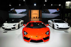 The Booth of LAMBORGHINI supercars Stock Image