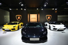 The Booth of LAMBORGHINI supercars Stock Photos