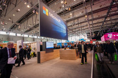 Booth of Microsoft company at CeBIT information technology trade show Royalty Free Stock Photography