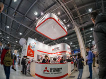 Booth of Mitsubishi Electric company at PhotoForum 2017 trade show Stock Images