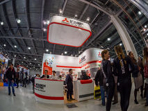Booth of Mitsubishi Electric company at PhotoForum 2017 trade show Stock Photo