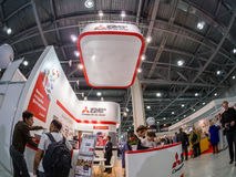 Booth of Mitsubishi Electric company at PhotoForum 2017 trade show Royalty Free Stock Image