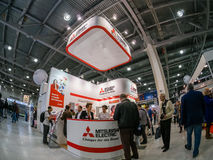 Booth of Mitsubishi Electric company at PhotoForum 2017 trade show Royalty Free Stock Photo