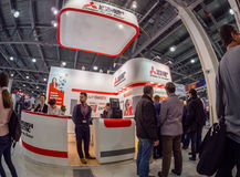 Booth of Mitsubishi Electric company at PhotoForum 2017 trade show Stock Photography