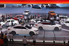 The Booth of NISSAN. Guangzhou, China - November 19, 2016: NISSAN TeRRA electric concept car , GT-R sportscar, MAXIMA saloon car, LANNIA saloon car and so on Stock Photos